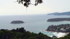 Stock Video Footage of op ariel view of a tropical ocean and beach bay, Phuket, Thailand