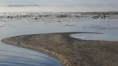 Lake Sandbar Morning Fog Stock Footage