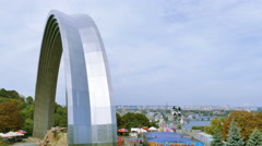 Arch of Friendship of  people, Soviet period in Kiev, capital of Ukraine. Zoom Stock Footage