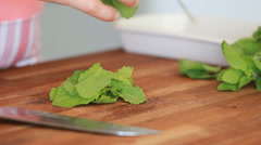 chopping mint leaves - stock footage