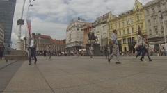 Trg J. Jelačića, Zagreb, Croatia Stock Footage