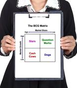 business woman holding a clipboard with The BCG Matrix chart - stock photo