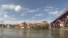 Gravni Most, Bridge over the River Drava, Maribor, Slovenia Stock Footage