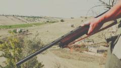 Shooter on hunting in rural area of Sicily Stock Footage
