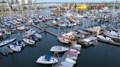 Aerial Flyby of Marina and Docks Downton Stock Footage