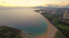 Time Lapse Sunset Aerial over Ala Moana & Magic Island Stock Footage