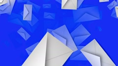 Envelopes in white on blue Stock Footage