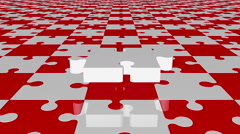 Flying puzzle piece in white on red and white colors Stock Footage
