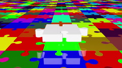 Flying puzzle piece in white on various colors Stock Footage