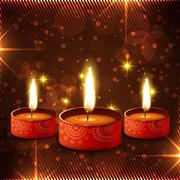 Beautiful diwali diya background - stock illustration