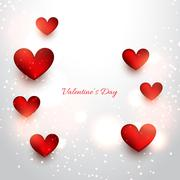 valentine red hearts in attractive background - stock illustration