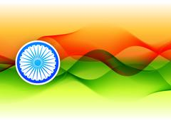 indian flag design made in wave style - stock illustration