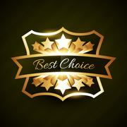 best choice label design with stars burst - stock illustration