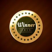 winner of the year 2015 golden label vector design - stock illustration