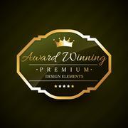 beautiful award winning golden label vector - stock illustration