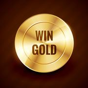 win gold label beautiful vector design - stock illustration