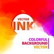 Colorful background of vibrant ink splash vector design Stock Illustration