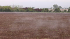 Steam Fog  from Warm Farm Field on Cold Morning - stock footage
