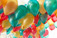 Colorful balloons with happy celebration party background Kuvituskuvat