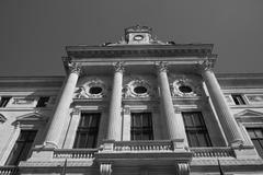Stock Photo of Buiding facade urban black and white