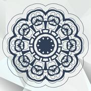 Arabic or indian mandala medallion lace design - stock illustration