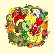 Vector illustration of many fruits, doodle style Stock Illustration