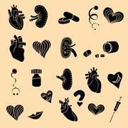 Set flat human organs icons illustration concept. Stock Illustration