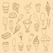 Stock Illustration of Collection of cute vector hand drawn cartoon ice cream. Cones an