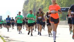 Kiev half marathon running Stock Footage