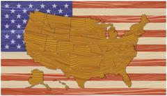 Map of the US flag with the texture of wood. Stock Illustration