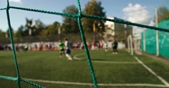 goal keeper in blurry for background - stock footage