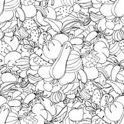Seamless background of vegetables and spices, vector hand-drawn - stock illustration