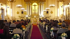 Interior of Saint Anthony of Padua Church in downtown Macau, China. - stock footage