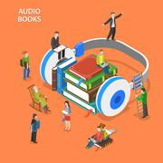 Audio books isometric flat vector concept. Stock Illustration