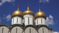 The domes of the Assumption Cathedral (in 4k) inside the Kremlin, Moscow, Russia Stock Footage