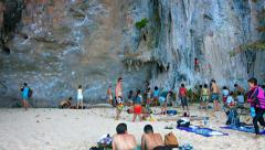 Tourists waiting for their turn to climb up he seacliffs. Thailand Stock Footage