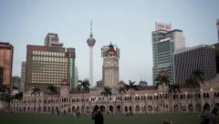 Merdeka Square in Kuala Lumpur's city center in the late afternoon Stock Footage