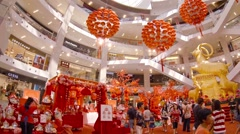 Chinese New Year Themed Decorations inside Pavilion Kuala Lumpur Stock Footage