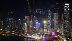 Beautifully lit, night time cityscape of Hong Kong Stock Footage