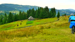 Bike tour in the Carpathian Stock Footage