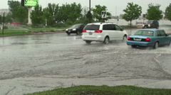 Stock Video Footage of Hydroplaning is a Threat in Curb Deep Flood Waters