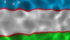 Stock Video Footage of Waving Flag Uzbekistan
