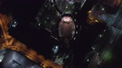 Beverly hills drone fly over city hall at night Stock Footage