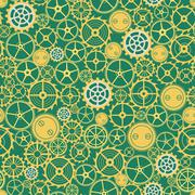 Seamless rusty cogwheel pattern - stock illustration