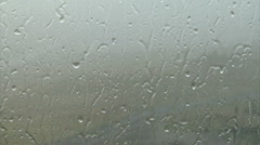 Downpour of Rain and Small Hail on Window Stock Footage