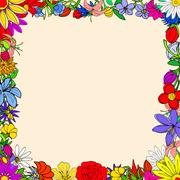 Stock Illustration of Doodle frame elements with flowers