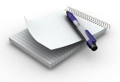 Notepad with pen Stock Photos