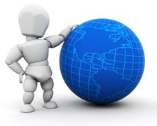 Person with globe - stock photo