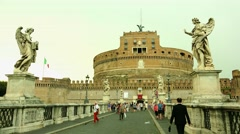 ULTRA HD 4K real time shot,The Castel Sant'Angelo Bridge, Rome Stock Footage