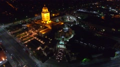 beverly hills city hall night drone lights - stock footage